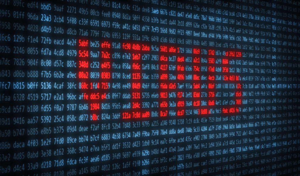 napis virus utworzony za pomocą niebieskich i czerwonych liczb w zapisie hex