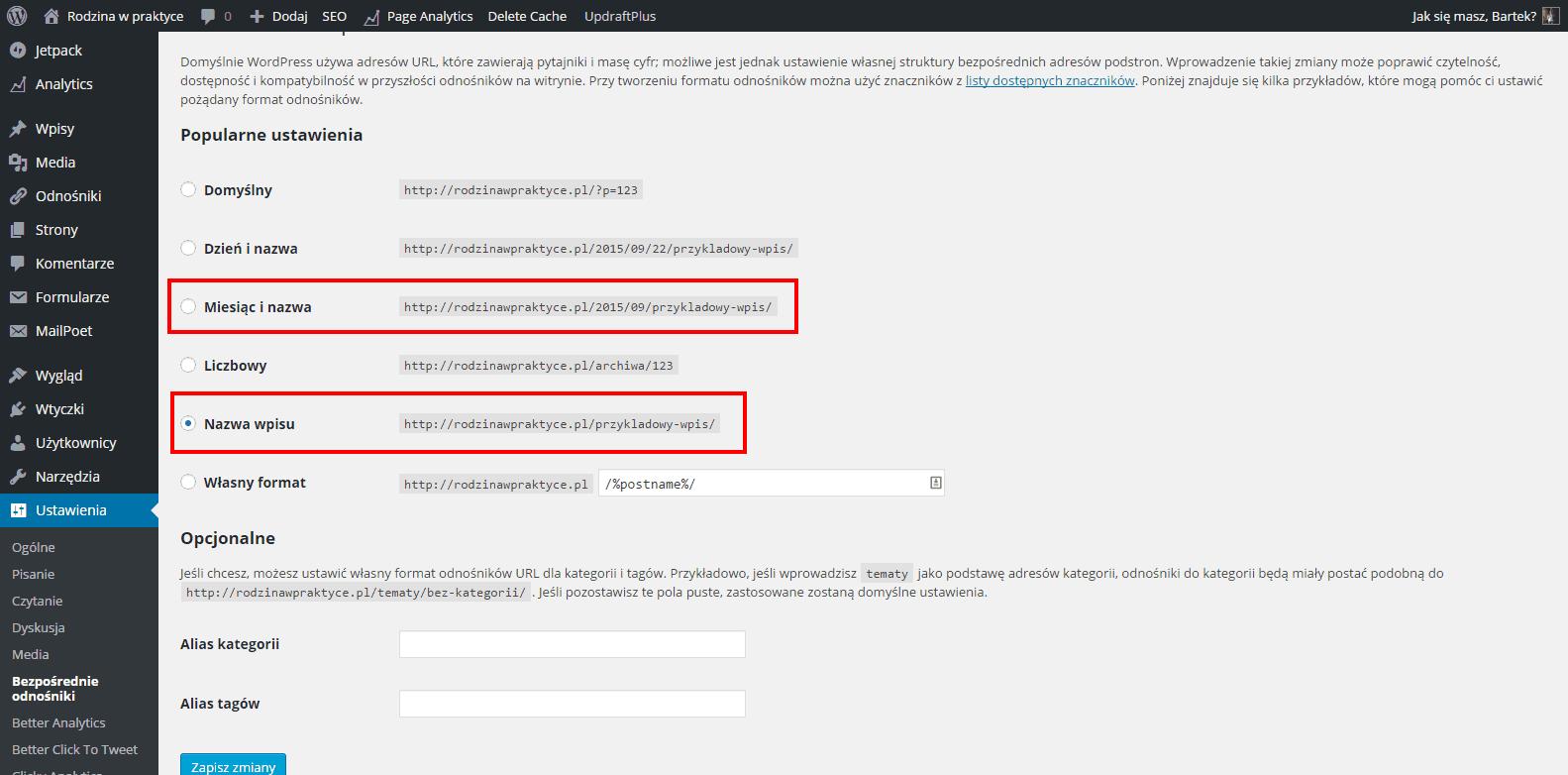 Ustawiania bezpośrednich odnośników w WordPress