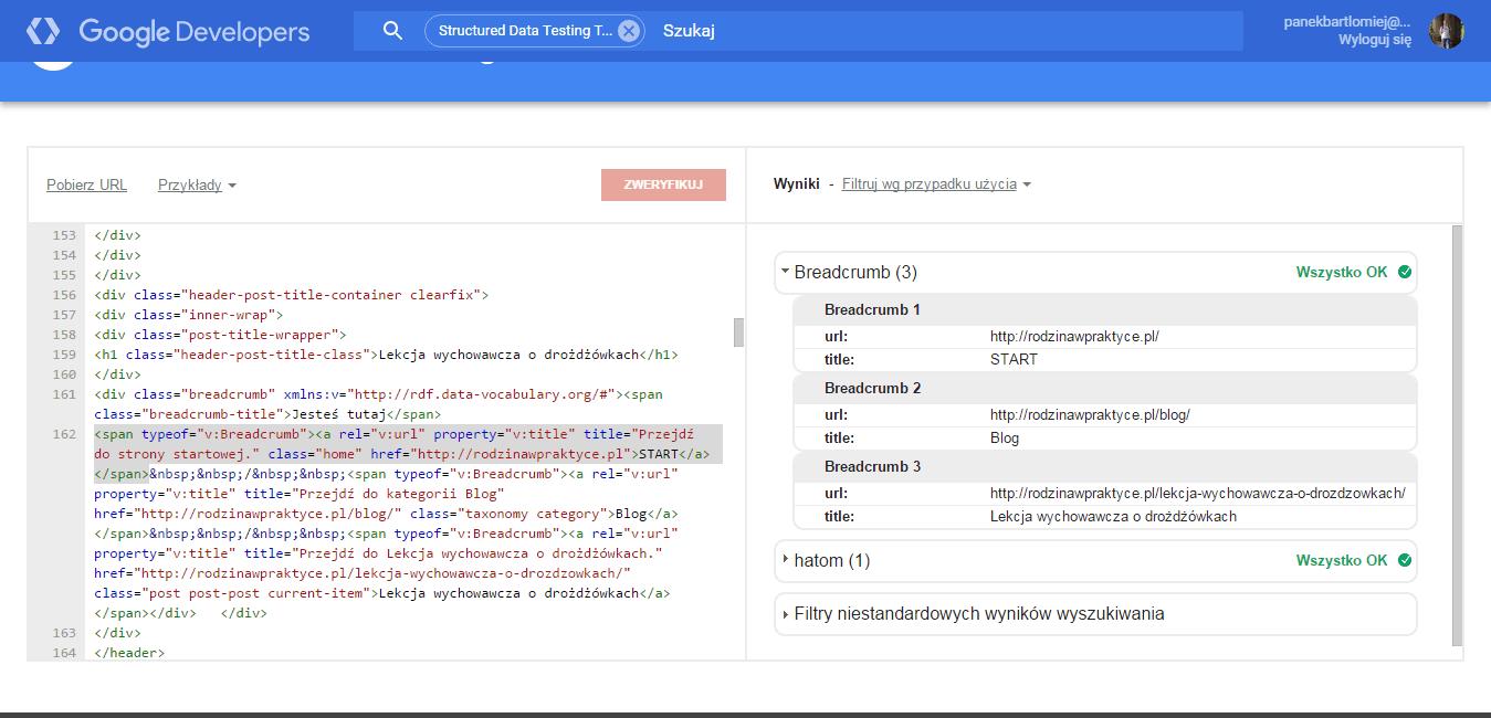 Okruszki - Yoast SEO - przykład jak widzi Google