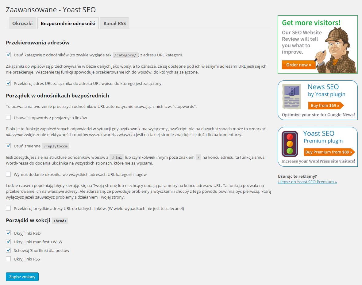 Zaawansowane - Yoast SEO - bezpośrednie odnośniki