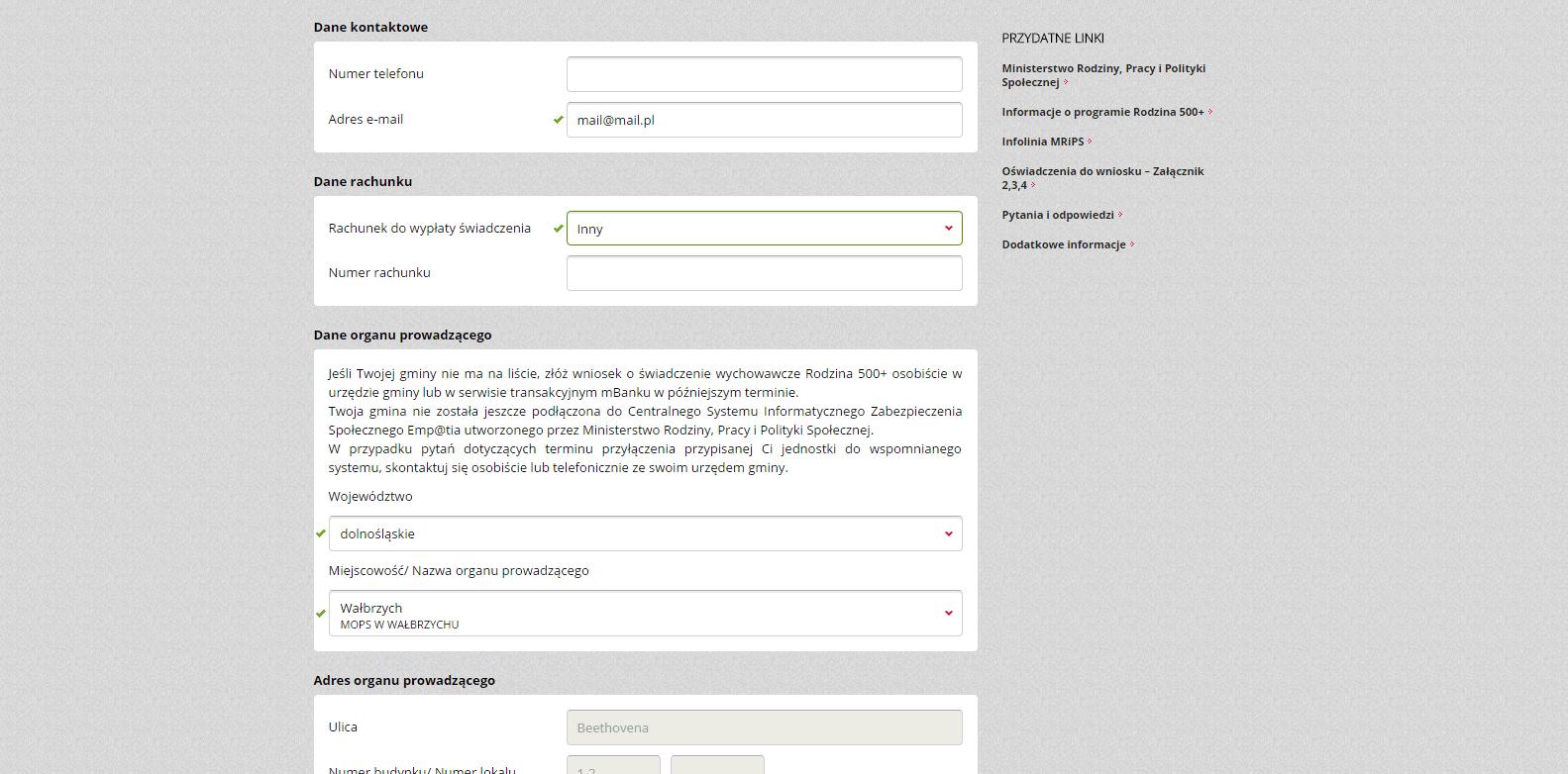 krok 2 - wniosek o 500 plus przez internet