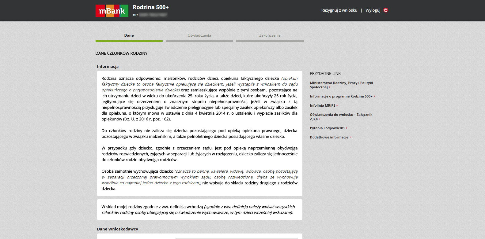 krok 4 - wniosek o 500 plus przez internet